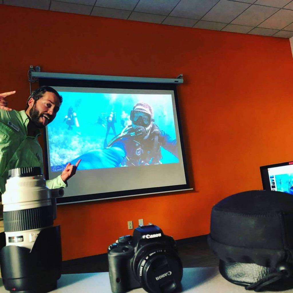 The photographer for Mote Marine Laboratory came in to talk to teens about photography.