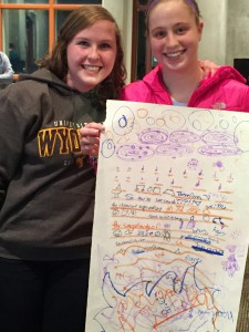 "Two participants in the café ""The Architecture of Music"" show off the musical score to their multimedia presentation on life in high school."