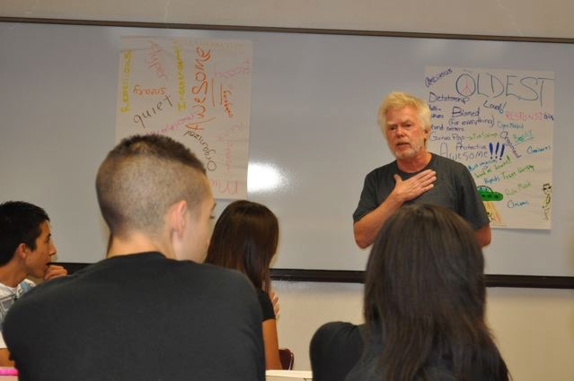 Mike holds forth at a teen leader training